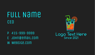 Neon Cocktail Drink  Business Card