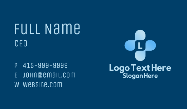 medtech - Blue Medical Cross Letter Business card horizontal design