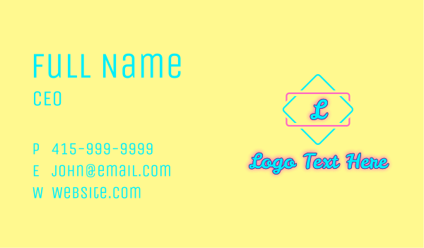 beach resort - Summer Glowing Letter Business card horizontal design