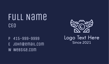 Winged Photo Camera  Business Card