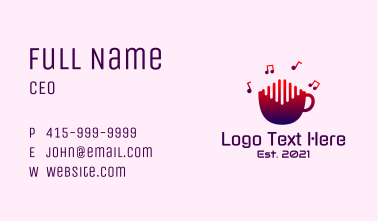 Music Note Cup Business Card
