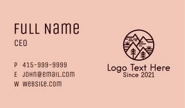 Brown Mountain Camp  Business Card