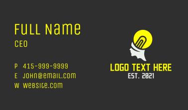 Light Bulb Head Business Card