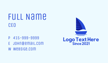 Sailing Blue Boat Business Card