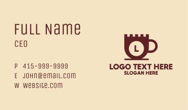 Castle Coffee Cup Lettermark Business Card