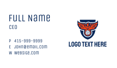 Volleyball Eagle Shield Business Card