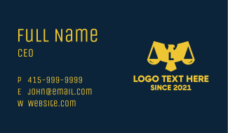 Wing Justice Scale Eagle Business Card