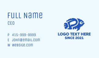 Blue Fish Letter P Business Card