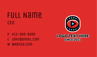 Filmstrip Youtube Player Business Card