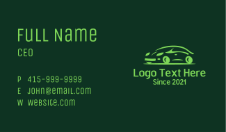 Green Automobile Car  Business Card
