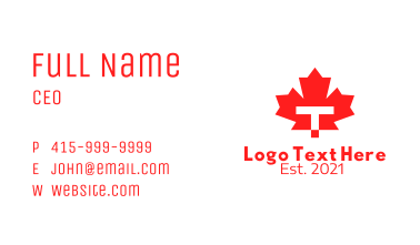 Red Maple Leaf Letter T Business Card