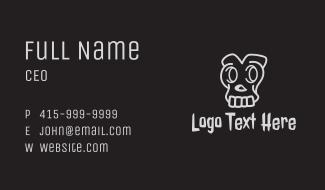 Gray Skull Cartoon Business Card