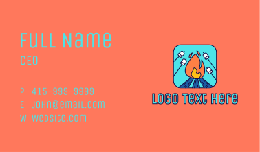 Camp Fire Marshmallow Business Card