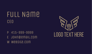Brown Wing Mechanic Wrench Business Card
