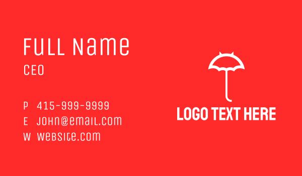 demon - White Devil Umbrella  Business card horizontal design