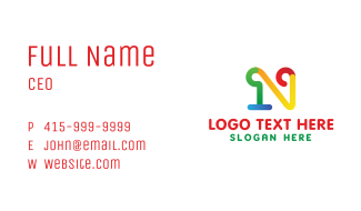 Colorful N Stroke Business Card