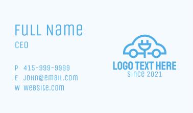 Blue Electric Car  Business Card