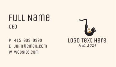 Music Saxophone Cafe Business Card
