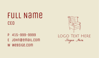 Upholstered Chair Sketch Business Card