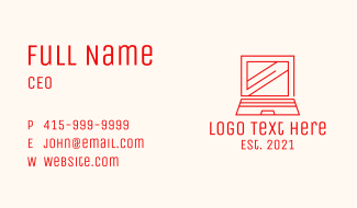 Red Laptop Outline Business Card