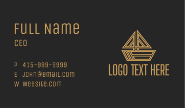 Gold Sailing Boat  Business Card