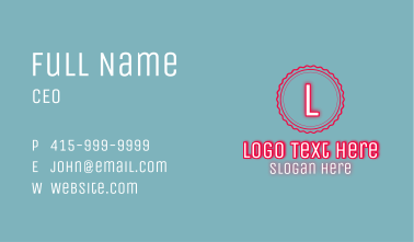 Glowing Clean Patisserie Letter Business Card