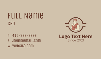 Construction Worker Mascot Business Card