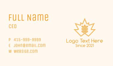 Orange Leaf Outline  Business Card
