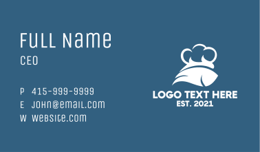 White Fish Chef Hat Business Card