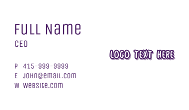 Lilac Purple Handwritten Stationery Business Card