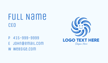 Blue Smiley Octopus  Business Card