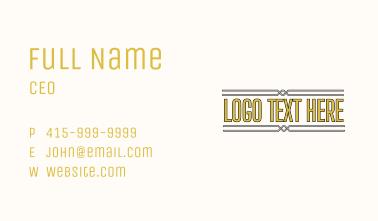 Simple Art Deco Wordmark Business Card