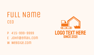 Construction House Excavator  Business Card