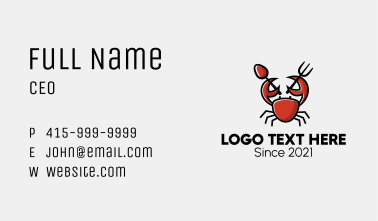 Crab Seafood Restaurant Business Card