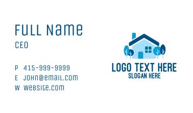 Blue Suburban House  Business Card