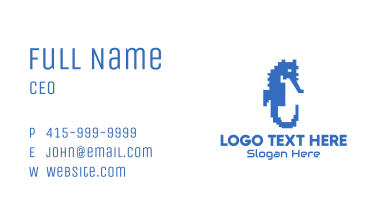 Pixel Seahorse Business Card