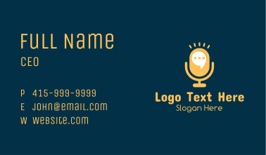 Yellow Announcer Mic  Business Card