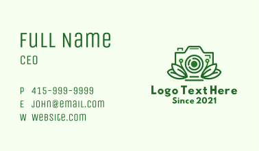 Leaf Decor Camera Business Card