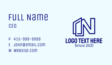 Letter N Building Business Card