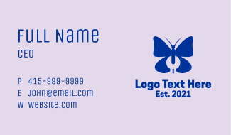 Blue Butterfly Wrench  Business Card