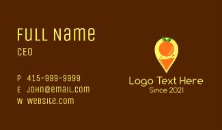 Orange Juice Location Pin Business Card