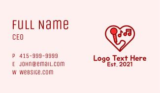Red Love Karaoke  Business Card