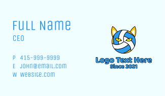Cat Volleyball Mascot  Business Card