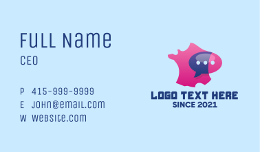 France Map Messaging  Business Card