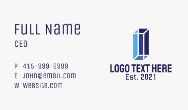Blue 3D Letter I Business Card