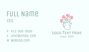 Rose Watering Can Business Card