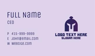 Purple Gladiator Helmet Business Card