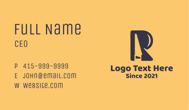 Letter R Saw  Business Card
