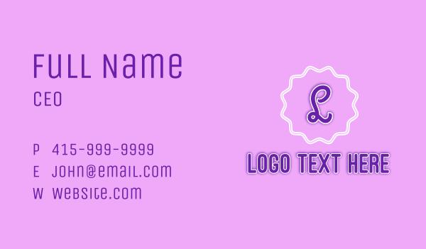 macaron - Violet Pastry Shop Badge Letter Business card horizontal design