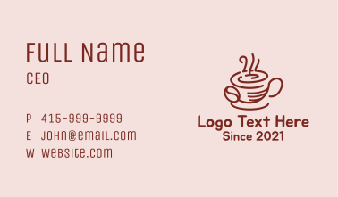 Hot Coffee Cup Business Card
